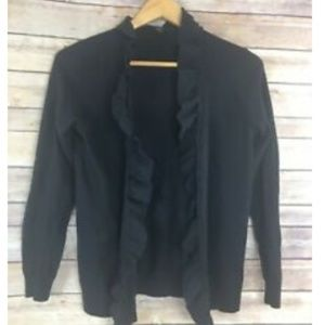 Talbots Cardigan Ruffled Lightweight Wool Sweater